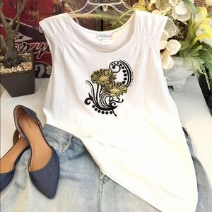 Tops - White cotton tank with embroidered floral front-3X